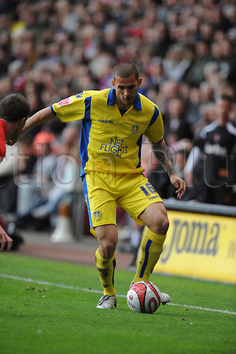 01/05/2010 A late goal keeps alive Charlton's chances of automatic promotion but dashes Leeds hopes of securing a place in the Championship on their visit to the Valley. Picture shows Johnson of Leeds.