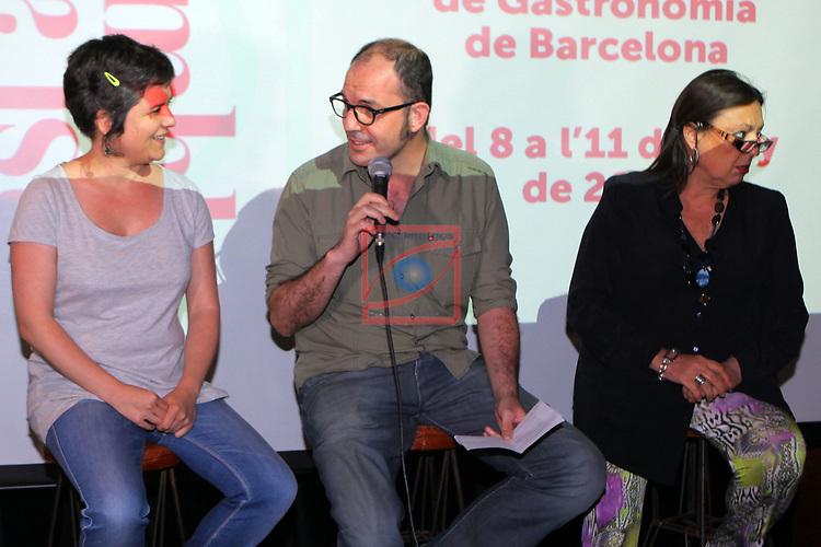 Tast a la Rambla.<br /> 4a Setmana de Gastronomia de Barcelona.<br /> Gala Pin, Fermin Villar &amp; Roser Torras.