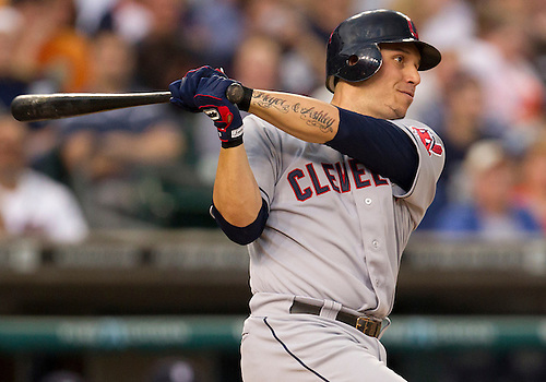 June 06, 2012:  Cleveland Indians shortstop Asdrubal Cabrera (13) at bat during MLB game action between the Cleveland Indians and the Detroit Tigers at Comerica Park in Detroit, Michigan.  The Indians defeated the Tigers 9-6.