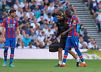 Cheikhou Kouyaté of Crystal Palace goes off injured during the Premier League match between Tottenham Hotspur and Crystal Palace at Wembley Stadium, London, England on 14 September 2019. Photo by Vince  Mignott / PRiME Media Images.