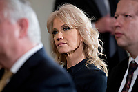 Kellyanne Conway, senior advisor to U.S. President Donald Trump, listens during a news conference with U.S. President Donald Trump and Stefan Lofven, Sweden's prime minister, not pictured, in the East Room of the White House in Washington, D.C., U.S., on Tuesday, March 6, 2018. Trump and Lofven are looking to focus on trade and investment between the two countries and ways to achieve shared defense goals. <br /> CAP/MPI/RS<br /> &copy;RS/MPI/Capital Pictures