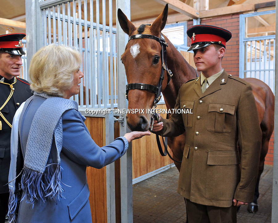 """CAMILLA, DUCHESS OF CORNWALL.visits The King's Troop Royal Horse Artillery to open the new King George VI Lines in Woolwich. .The Duchess also met service personnel from the troop and presented operational medals to those who have recently returned from Afghanistan..The King's Troop Royal Horse Artillery is Her Majesty The Queen's ceremonial Saluting Battery.  The Regiment was established by His Majesty The King George VI on 24 October 1947.  Known as 'The Troop' it is a mounted unit and all of its soldiers are superb equestrians trained to drive a team of six horses that pull the thirteen pound state saluting gun.  An integral part of the Household Troops, its duties include the firing of Royal Salutes in Hyde Park on Royal Anniversaries and State Occasions, and providing a gun carriage and team of black horses for State and Military funerals_13/03/2012.Photo Credit: ©Hughes/Newspix International..**ALL FEES PAYABLE TO: """"NEWSPIX INTERNATIONAL""""**..PHOTO CREDIT MANDATORY!!: NEWSPIX INTERNATIONAL..IMMEDIATE CONFIRMATION OF USAGE REQUIRED:.Newspix International, 31 Chinnery Hill, Bishop's Stortford, ENGLAND CM23 3PS.Tel:+441279 324672  ; Fax: +441279656877.Mobile:  0777568 1153.e-mail: info@newspixinternational.co.uk"""