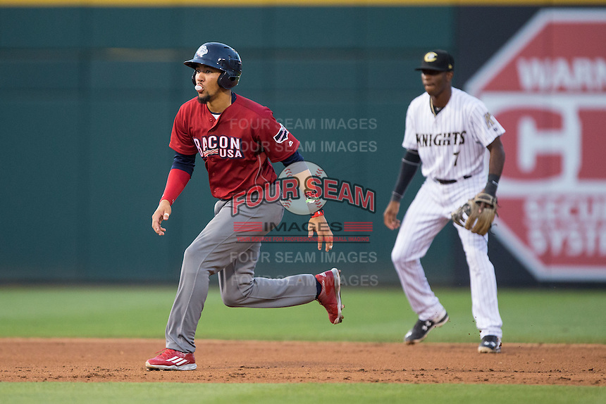 J.P. Crawford (3) of the Lehigh Valley Iron Pigs takes his lead off of second base against the Charlotte Knights at BB&T BallPark on June 3, 2016 in Charlotte, North Carolina.  The Iron Pigs defeated the Knights 6-4.  (Brian Westerholt/Four Seam Images)