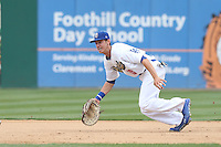 Cody Bellinger (10) of the Rancho Cucamonga Quakes in the field during a game against the Visalia Rawhide at LoanMart Field on May 6, 2015 in Rancho Cucamonga, California. Visalia defeated Rancho Cucamonga, 7-2. (Larry Goren/Four Seam Images)