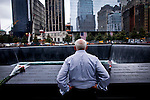 A man visits the 9/11 memorial and museum pools at World Trade Center in New York, 21/09/11. The September 11 Memorial & Museum was visited for more than 1 million people since it opened to the public Sept. 12, following the 10th anniversary of the terror attacks in New York, United States. PICTURE TAKEN ON SEPTEMBER 21, 2011  Photo by Eduardo Munoz Alvarez / VIEWpress.