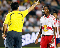 Head referee breaks up an altercation between Chivas USA Goalkeeper, Brad Guzan(not pictured) and NY Red Bulls forward, Oscar Echeverry(20). Chivas USA  took on the NY Red Bulls on June 28, 2008 at the Home Depot Center in Carson, CA. The game ended in a 1-1 tie.