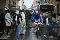 Ignatas Konovalovas (LIT/FDJ) making his way through the crowd to the start<br /> <br /> stage 21: Cuneo - Torino 163km<br /> 99th Giro d'Italia 2016