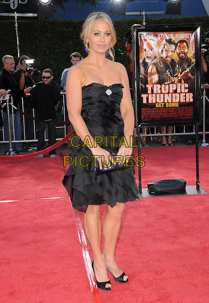 "CHRISTINE TAYLOR .The Dreamwork's L.A. Premiere of ""Tropic Thunder"" held at The Mann's Village Theatre in Westwood, California, USA..August 11th, 2008.full length black strapless dress blue clutch bag layers layered ruffles ruffled.CAP/DVS.©Debbie VanStory/Capital Pictures."