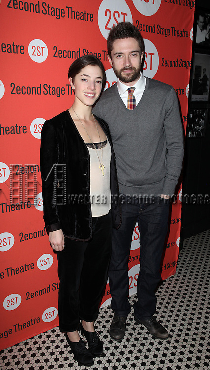Olivia Thirlby & Topher Grace.attending the Off-Broadway Opening Night Performance Party for the Second Stage Theatre's 'Lonely, I'm Not' at HB Burger in New York City on 5/7/2012.
