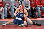 MADISON, WI - JANUARY 19: Zach Tanelli of the Wisconsin Badgers wrestling team against the Penn State Nittany Lions at the Field House on January 19, 2007 in Madison, Wisconsin. The Badgers beat the Nittany Lions 17-16. (Photo by David Stluka)