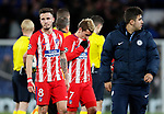 Atletico Madrid players dejected as they fail to qualify further in the Champions League during the Champions League Group C match at the Stamford Bridge, London. Picture date: December 5th 2017. Picture credit should read: David Klein/Sportimage