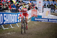 Simon Andreassen (DEN)  leading the Men Juniors Race<br /> <br /> 2015 UCI World Championships Cyclocross <br /> Tabor, Czech Republic