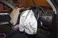 Deployed airbags and broken windscreen in an Audi A4 after a RTC..©shoutpictures.com..john@shoutpictures.com