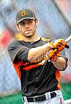19 June 2011: Baltimore Orioles' pitcher Jake Arrieta awaits his turn in the batting cage prior to a game against the Washington Nationals at Nationals Park in Washington, District of Columbia. The Orioles defeated the Nationals 7-4 in inter-league play, ending Washington's 8-game winning streak. Mandatory Credit: Ed Wolfstein Photo