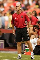 MetroStars' coach Bob Bradley shots instructions to his team late in the game. D.C. United defeated the NY/NJ MetroStars 6 to 2 at RFK Stadium, Washington, D.C., on July 3, 2004.