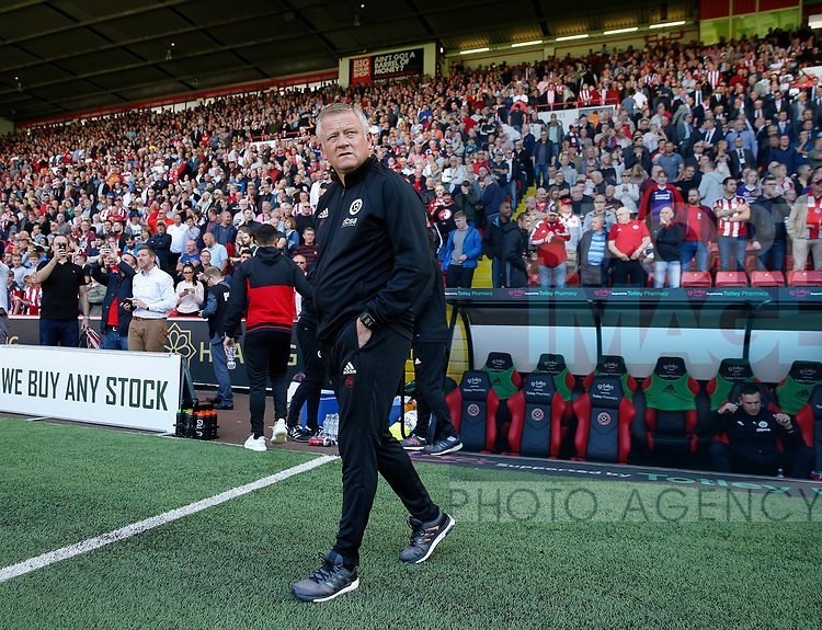 Chris Wilder manager of Sheffield Utd during the English Championship League match at Bramall Lane Stadium, Sheffield. Picture date: August 5th 2017. Pic credit should read: Simon Bellis/Sportimage