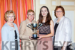 Ciara Hudson Moyvane/Knockanure is presented the overall winner of the Youth volunteers award by Margaret Culloty at the Kerry Community Games awards in the River Island Hotel on Saturday l-r: Eileen Roche, Margaret Culloty, Ciara Hudson, and Kit Horan