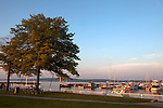 Open Space Park and Clinch Marina enjoyed by tourists and locals, Lake Michigan in Traverse City, Michigan, MI, USA