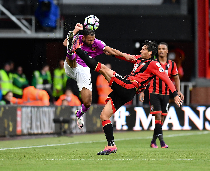 Bournemouth's Charlie Daniels (R) battles with Hull City's Ahmed Elmohamady (L)<br /> <br /> Bournemouth 6 - 1 Hull City<br /> <br /> Photographer David Horton/CameraSport<br /> <br /> The Premier League - Bournemouth v Hull City - Saturday 15th October 2016 - Vitality Stadium - Bournemouth<br /> <br /> World Copyright &copy; 2016 CameraSport. All rights reserved. 43 Linden Ave. Countesthorpe. Leicester. England. LE8 5PG - Tel: +44 (0) 116 277 4147 - admin@camerasport.com - www.camerasport.com