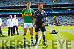 David Clifford with Referee Athony Nolan, Kerry v Derry in the All-Ireland Minor Footballl Final in Croke Park on Sunday.
