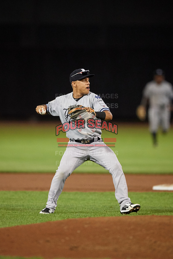 Staten Island Yankees shortstop Eduardo Torrealba (13) throws to first base during a game against the Aberdeen IronBirds on August 23, 2018 at Leidos Field at Ripken Stadium in Aberdeen, Maryland.  Aberdeen defeated Staten Island 6-2.  (Mike Janes/Four Seam Images)