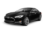 Black 2014 Tesla Model S luxury electric car isolated on white background with clipping path