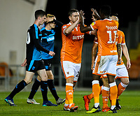 Blackpools Steve Davies celebrates scoring with teammates<br /> <br /> Photographer Alex Dodd/CameraSport<br /> <br /> The EFL Checkatrade Trophy Northern Group C - Blackpool v West Bromwich Albion U21 - Tuesday 9th October 2018 - Bloomfield Road - Blackpool<br />  <br /> World Copyright &copy; 2018 CameraSport. All rights reserved. 43 Linden Ave. Countesthorpe. Leicester. England. LE8 5PG - Tel: +44 (0) 116 277 4147 - admin@camerasport.com - www.camerasport.com
