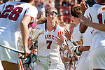Los Angeles, CA 04/22/16 - Amanda Johansen (USC #7) in action during the NCAA Stanford-USC Division 1 women lacrosse game at the Los Angeles Memorial Coliseum.  USC defeated Stanford 10-9/