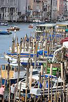 Paline per l'ormeggio delle imbarcazioni sul Canal Grande, a Venezia.<br /> Mooring poles on the Grand Canal in Venice.<br /> UPDATE IMAGES PRESS/Riccardo De Luca