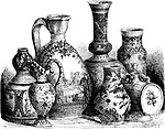 Various Earthenwares, found in Nevers, France, vintage engraved illustration. Le Magasin Pittoresque - Larive and Fleury - 1874