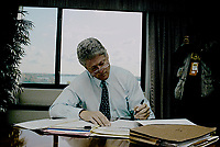 Ann Arbor, Michigan , USA, October 19, 1992<br /> Presidential candidate Governor William Clinton working on his campaign debate speech in Hotel in Ann Arbor, Michigan before going to the debate at the University of Michigan. Credit: Mark Reinstein/MediaPunch