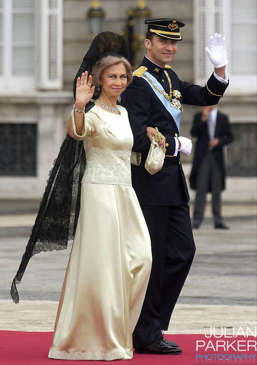 Queen Sofia of Spain attends the wedding of Crown Prince Felipe & Letizia Ortiz Rocasolano in Madrid..Picture: UK PRESS