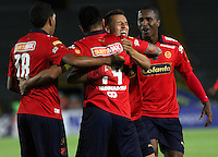BOGOTA -COLOMBIA, 11-OCTUBRE-2014. <br /> German Cano de Medellin  celebra un gol anotado a Millonarios  durante partido por la fecha 14 de la Liga Postobón II 2014 jugado en el estadio Nemesio Camacho El Campin ./German Cano player of Medellin  celebrates his goal  against Millonarios  during the match for the 14th date of the Postobon League II 2014 played at Nemesio Camacho El Campin.Photo / VizzorImage / Felipe Caicedo / Staff