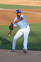 Zack Bird (23) of the Rancho Cucamonga Quakes pitches during a game against the Stockton Ports at LoanMart Field on June 13, 2015 in Rancho Cucamonga, California. Stockton defeated Rancho Cucamonga, 14-2. (Larry Goren/Four Seam Images)