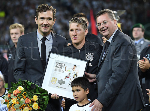 31.08.2016 Moenchengladbach, Germany. International football freindly. Germany versus Finland.  Bastian Schweinsteiger in tears before The start of the game  as he is presented mementos of his international career