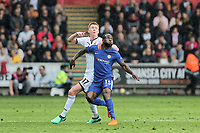 (L-R) Sam Clucas of Swansea City challenges  Victor Moses of Chelsea during the Premier League game between Swansea City v Chelsea at the Liberty Stadium, Swansea, Wales, UK. Saturday 28 April 2018