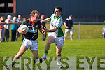 Donal Kelliher Milltown-Castlemaine in action against Brian Costello Saint Brendans in the First Round of the Kerry Senior Football Championship at Milltown on Sunday.