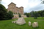 Scultura internazionale al Castello di Aglie. Sculpture exhibition in the park of the Castle of Aglie. Here the work of Ugo La Pietra.