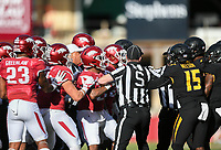NWA Democrat-Gazette/CHARLIE KAIJO Refs breakup a scuffle between the Arkansas Razorbacks and Missouri Tigers in the first half during a football game on Friday, November 24, 2017 at Razorback Stadium in Fayetteville.