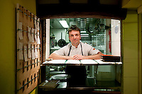 Ecole Superieure de Cuisine Francaise Gregoire Ferrandi cooking school alumni Francois Pasteau poses for the photographer in his restaurant « L'Epi Dupin » in Paris, France, 18 December 2007.