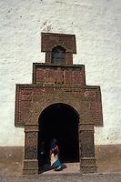 Moorish designs on the facade of the 16th-century Iglesia de Santiago Apostol in the village of Angahuan, Michoacan, Mexico
