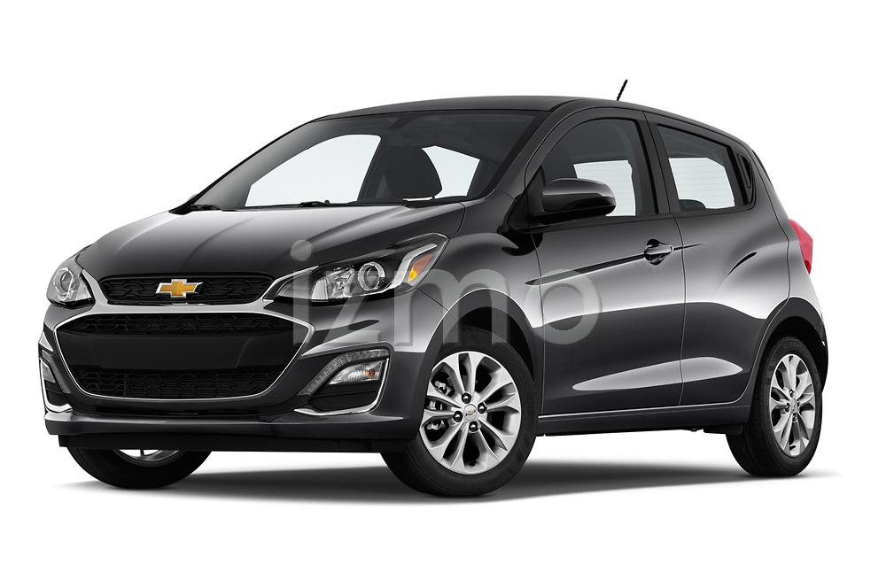 Stock pictures of low aggressive front three quarter view of a 2020 Chevrolet Spark 1LT 5 Door Hatchback