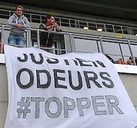 Belgian Red Flames - Noorwegen :<br /> <br /> spandoek voor Justine Odeurs in de tribune<br /> <br /> foto VDB / BART VANDENBROUCKE