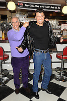 "Henry Winkler and Ben Freeman at the photocall for ""Happy Days The Musical"" at Ed's Easy Diner, Trocadero, London. 08/01/2014 Picture by: Steve Vas / Featureflash"