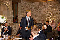 Switserland, Genève, September 16, 2015, Tennis,   Davis Cup, Switserland-Netherlands, location of the official diner, Domaine du Clos Du Chateau,  Jan Siemerink is being presented<br /> Photo: Tennisimages/Henk Koster