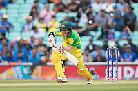 David Warner (Australia) defends during India vs Australia, ICC World Cup Cricket at The Oval on 9th June 2019