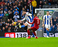 Liverpool's Georginio Wijnaldum (right) battles with Brighton & Hove Albion's Davy Propper (left) <br /> <br /> Photographer David Horton/CameraSport<br /> <br /> The Premier League - Brighton and Hove Albion v Liverpool - Saturday 12th January 2019 - The Amex Stadium - Brighton<br /> <br /> World Copyright © 2018 CameraSport. All rights reserved. 43 Linden Ave. Countesthorpe. Leicester. England. LE8 5PG - Tel: +44 (0) 116 277 4147 - admin@camerasport.com - www.camerasport.com