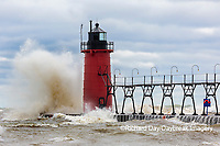 64795-02308 South Haven Lighthouse with high waves crashing South Haven,  MI