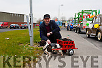 "St. Patrick's Day Parade Abbeyfeale were Jimmy Brosnan from Cordal with his dog "" Sparkie"""