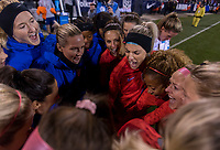 COLUMBUS, OH - NOVEMBER 07: The USWNT huddles before the start during a game between Sweden and USWNT at Mapfre Stadium on November 07, 2019 in Columbus, Ohio.